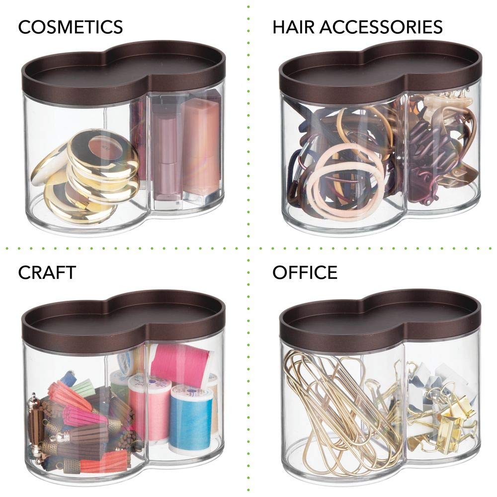 Blenders Stackable 2 Pack Clear//Rose Gold Swabs Bath Salts Divided mDesign Plastic Bathroom Vanity Countertop Canister Jar with Recessed Storage Lid 2 Compartment Organizer for Cotton Balls