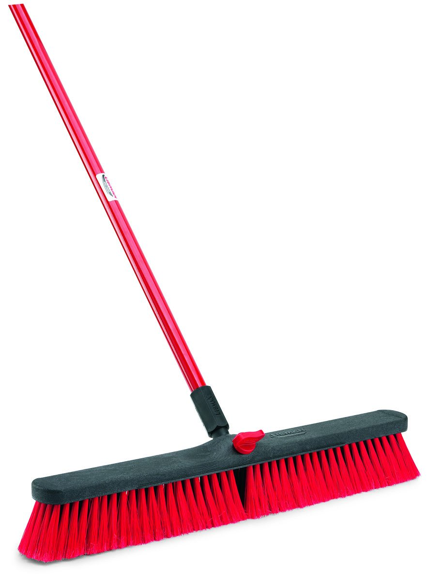 Libman Commercial 805 Multi-Surface Push Broom, 64'' Length, 24'' Width, Black/Red (Pack of 4)