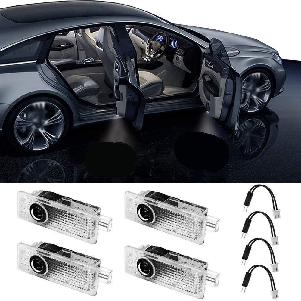 Aukur 2-Pack Car Door Logo Projector Welcome Light Lamp for Tesla Moedl S Moedl X Moedl 3