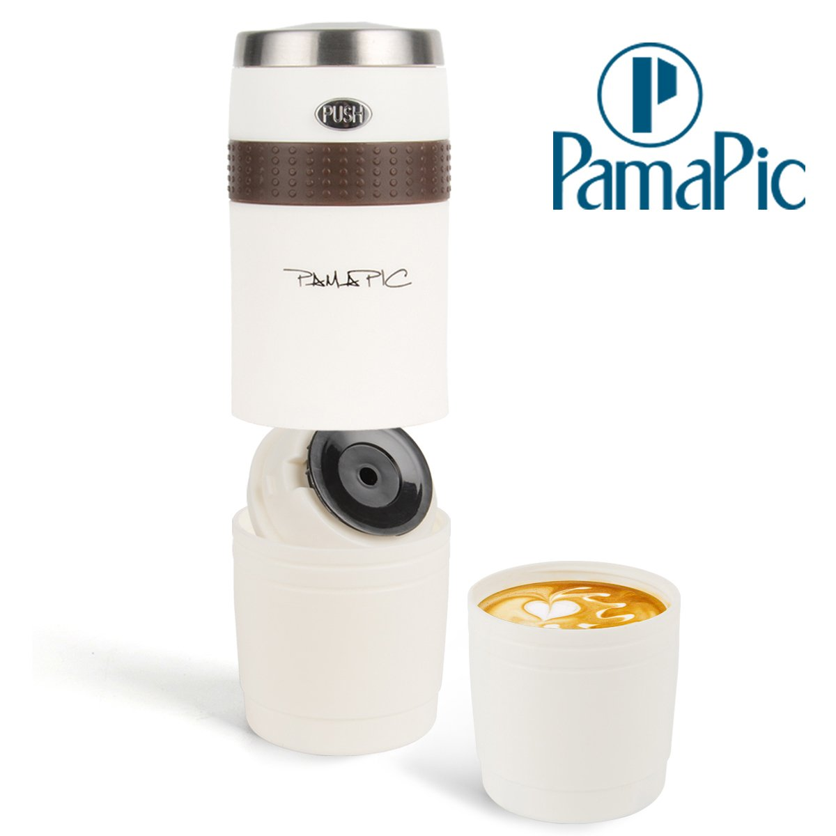 Pamapic Portable Coffee Maker, Mini Electric Espresso Machine with Reusable K-cup Coffee Filter (Ground Coffee & Capsule Compatible), Quick Coffee Machine for Travel, Home, Office 【150ML, Ivory White】 by Pamapic (Image #1)