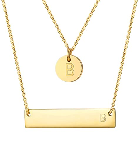 d02e0595d Initial Necklace Layered Pendant Statement Choker Chain for Women Girl B  2pcs 14K Gold Plated