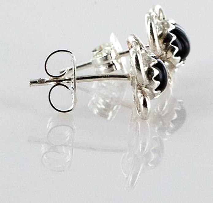 $70Tag Certified Silver Navajo Onyx Stud Native American Earrings 371129367407 Made By Loma Siiva