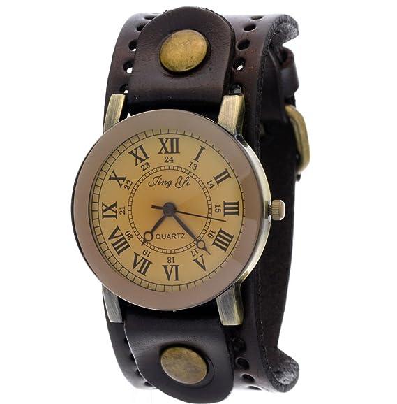 d6d563bbe New Arrival Vintage Cow Leather Brown Wide Strap Casual Copper Button Pale  Gold Dial Quartz Watch