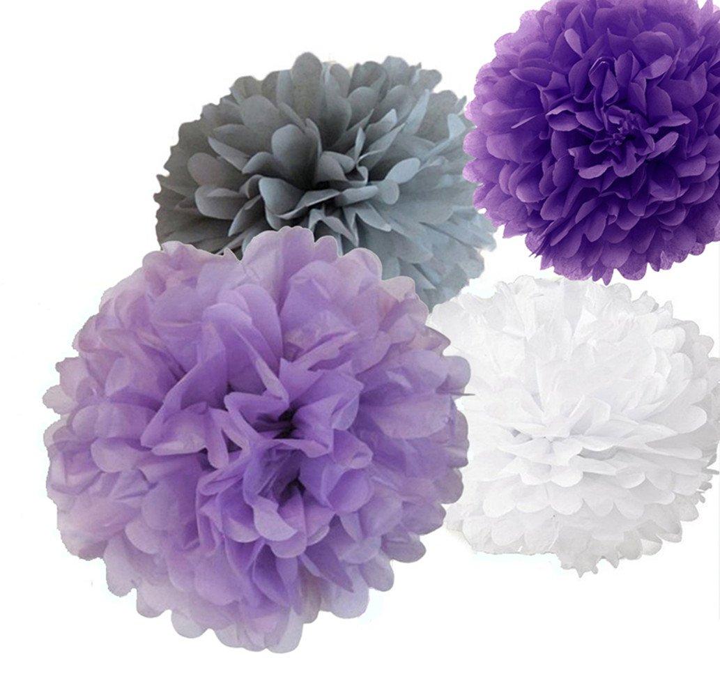 12pcs 8'' 10'' 14'' Mixed Lavender Purple Grey White Tissue Pom Poms Paper Flower Wedding Bridal Shower Party Fluffy Decoration