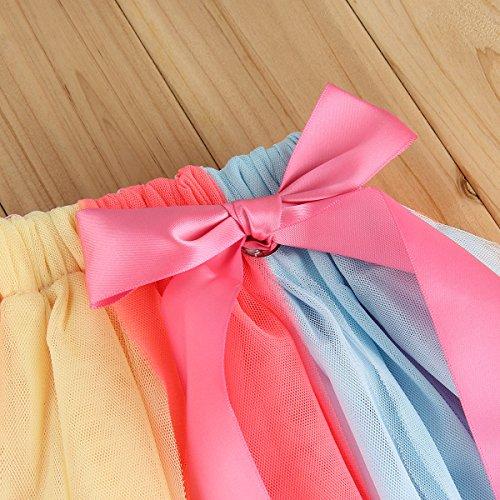 2-3 Years Puseky Toddler Baby Girls Birthday T-shirt+Rainbow Mesh Tutu Skirt Outfit Set