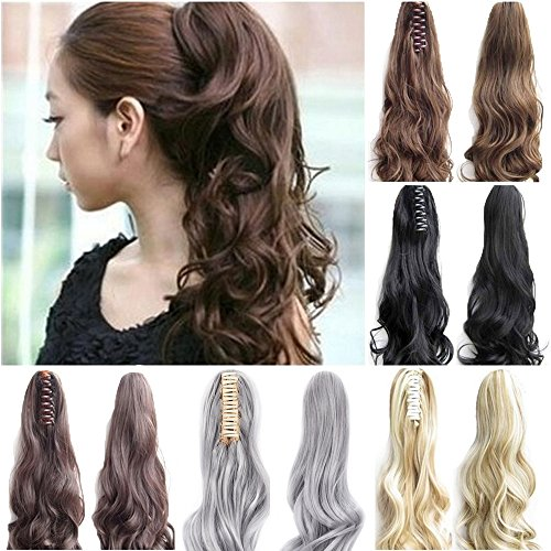 "FUT Womens Claw Ponytail Clip in Hair Extensions 18"" Long Curly Hairpiece silver"