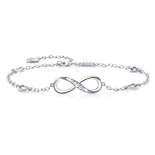 Billie Bijoux Womens 925 Sterling Silver Infinity Endless Love Symbol Charm Adjustable Anklet Bracel...