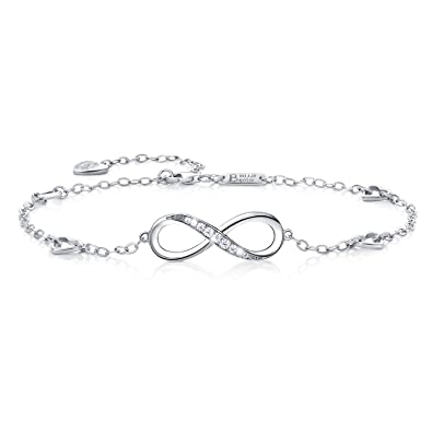 925 Sterling Silver Infinity Endless Love Heart Symbol Charm Hand Chain Adjustable Bracelet for Women Pnncq0usn