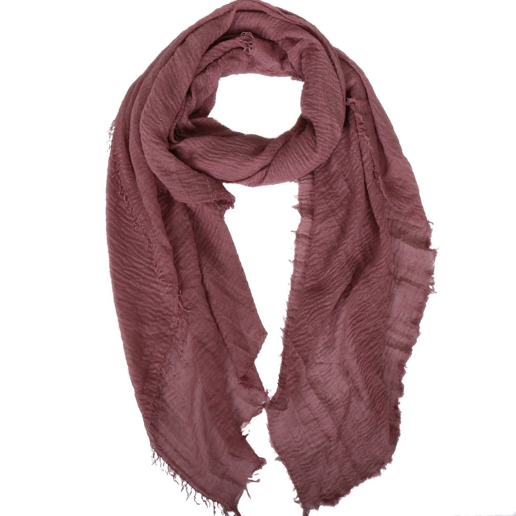 LMVERNA Women hijab wrinkle Scarf Cotton solid color Crinkle hijab scarves (Skin red)