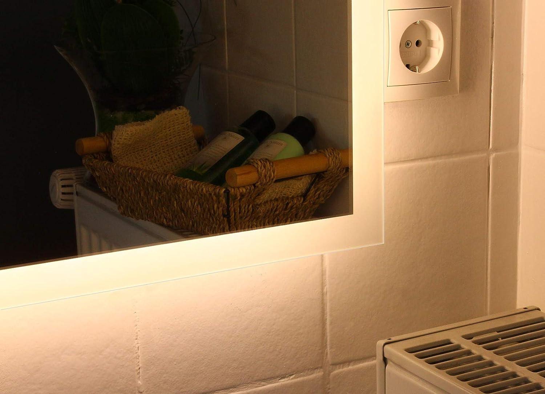 70 x 50 cm, Kalt-Wei/ß LED Badspiegel Allround nach Ma/ß mit Beleuchtung Wandspiegel Lichtspiegel