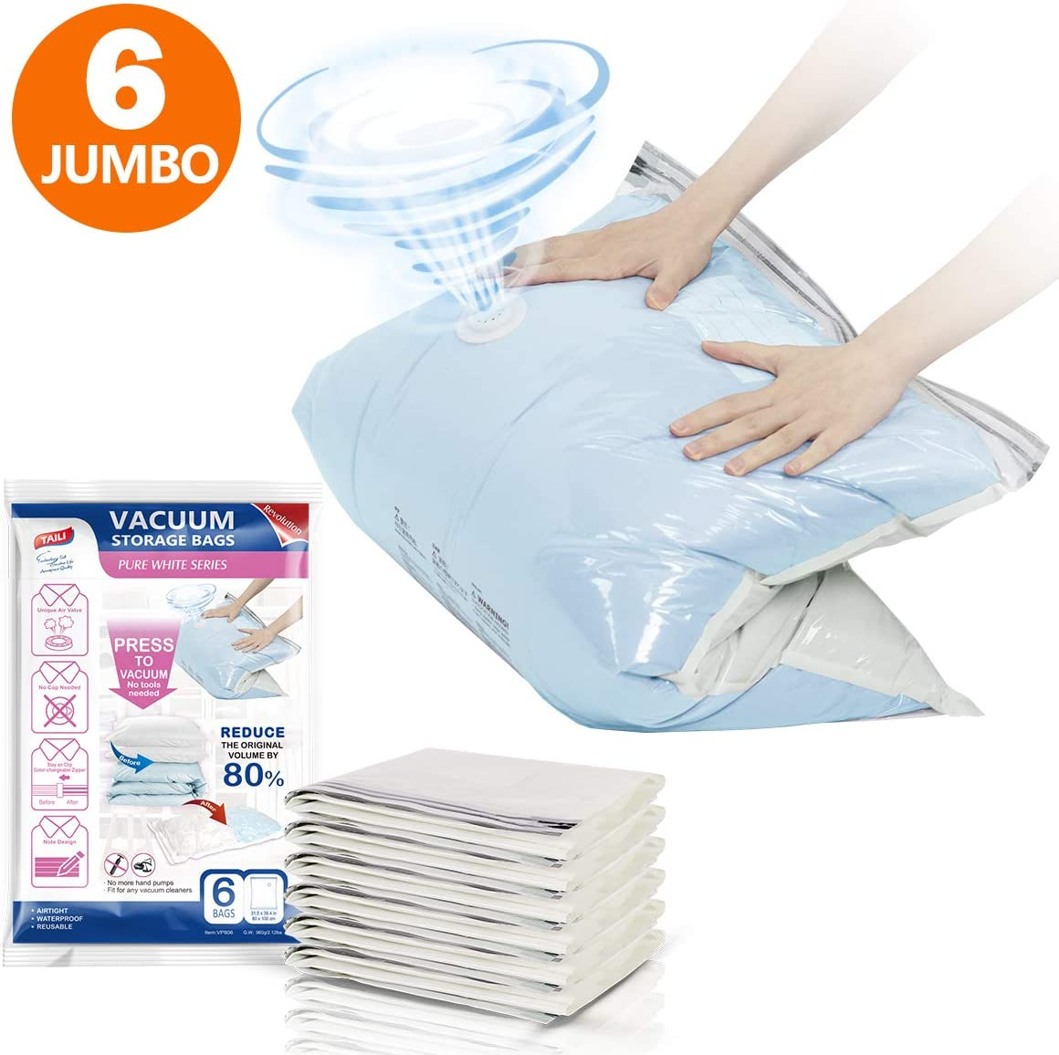 Jumbo Space Saver Vacuum Storage Bags 6 Pack No Pump No Cap Hand-Press Design, Sealer Vacuum Compressed Bags for Large Duvets Quilts Comforters Beddings Pillows and Travel