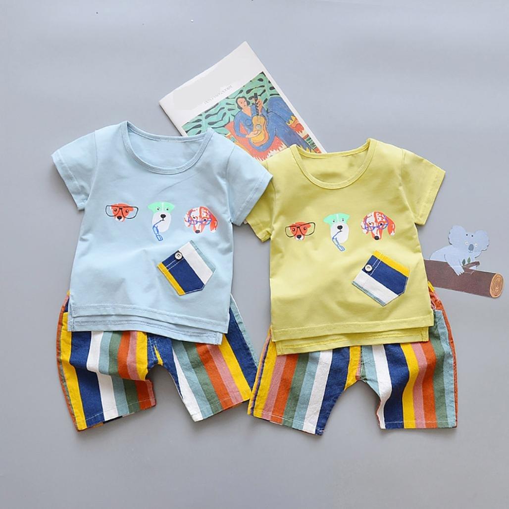 Memela Baby Boys 2Pcs Cotton Jersey Top and Rainbow Trousers