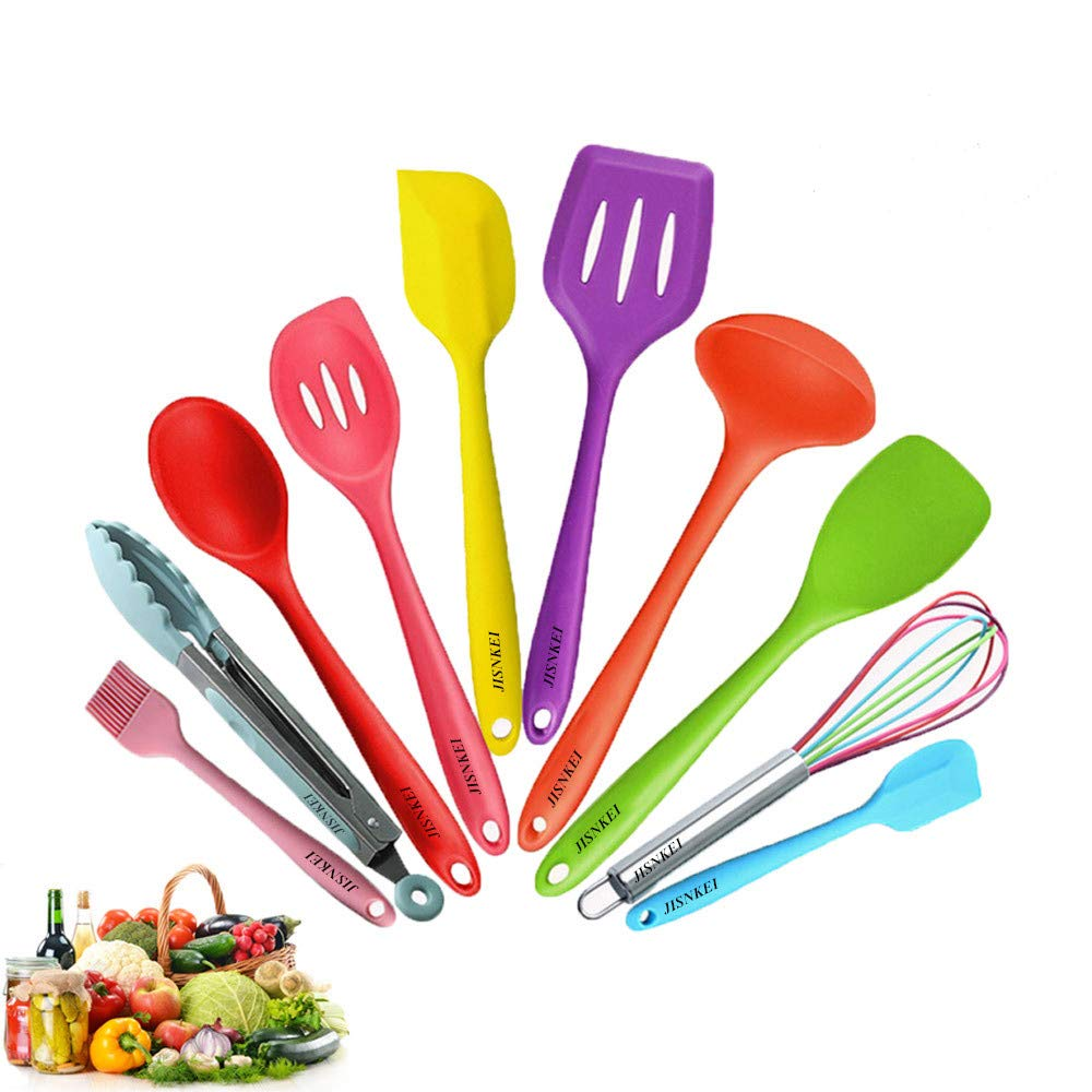 Silicone Kitchen Utensil 10 pieces,Color silicone non-stick utensil,silicone kitchenware set,cooking utensils,silicone kitchen utensil set with Basting brush,Mixing Spoon,Slotted Spoon Tools,Gadgets by JISNKEI