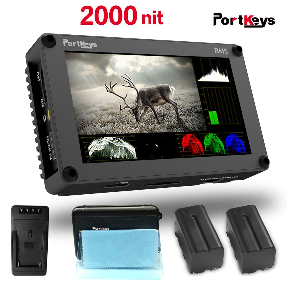 PortKeys BM5 5 Inch 2000nit 3G SDI/HDMI Touch Screen Monitor with 3D LUT,Wavaform,Camera Control Functions For BMD BMPCC URSA MINI BMPC 4K ... by Portkeys