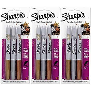 Sharpie Metallic Fine Point Permanent Marker, Assorted Colors, 3 Count (Pack of 3) Total 9 Markers