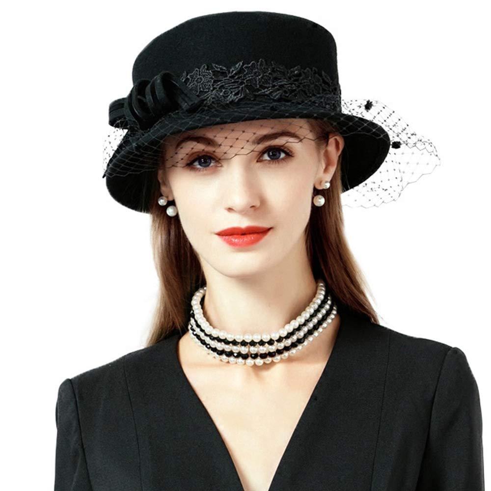Black Veils Winter Wool Felt Fedoras Wide Birm Elegant Bowler Church Wedding Hat