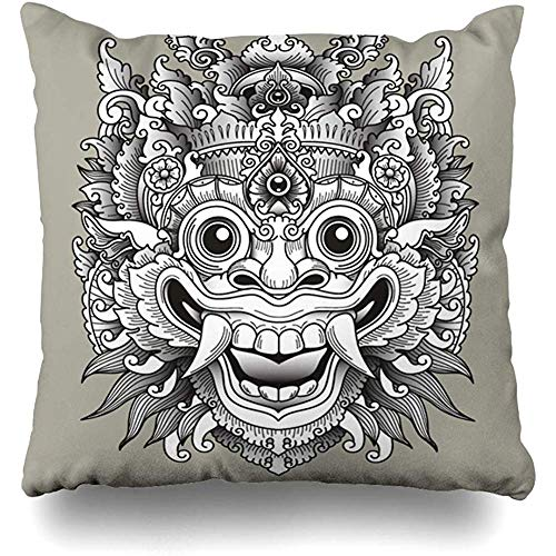 - Throw Pillow Cover Face Bali Balinese Barong Mask Indonesia Ornate Tattoo Indonesian Ethnic Asian Nyepi Cushion Case Home Decor Square Size 18 x 18 Inches Pillowcase