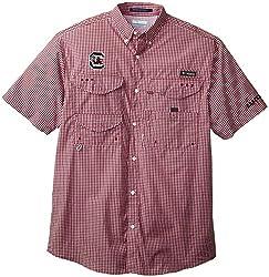NCAA Arkansas Razorbacks Men's Collegiate Super Bonehead Short Sleeve Shirt, Red Velvet Gingham, Small