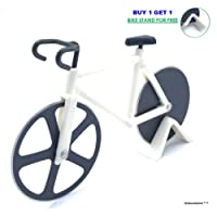 Bike Pizza Cutter Cyclist Gifts - Cool Fun Bicycle Blaze Pizza Cutter Wheels Dual Stainless Steel Non-Stick Sharp Cutting A Sporty and Awesome Kitchen Cycling Gift for Men (White) SkidooMarink