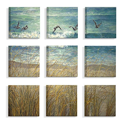 The Stupell Home Decor Collection Beach Dunes and Gulls Blue and Green Ocean Painting Stretched Canvas Wall Art, Multicolor made in Rhode Island