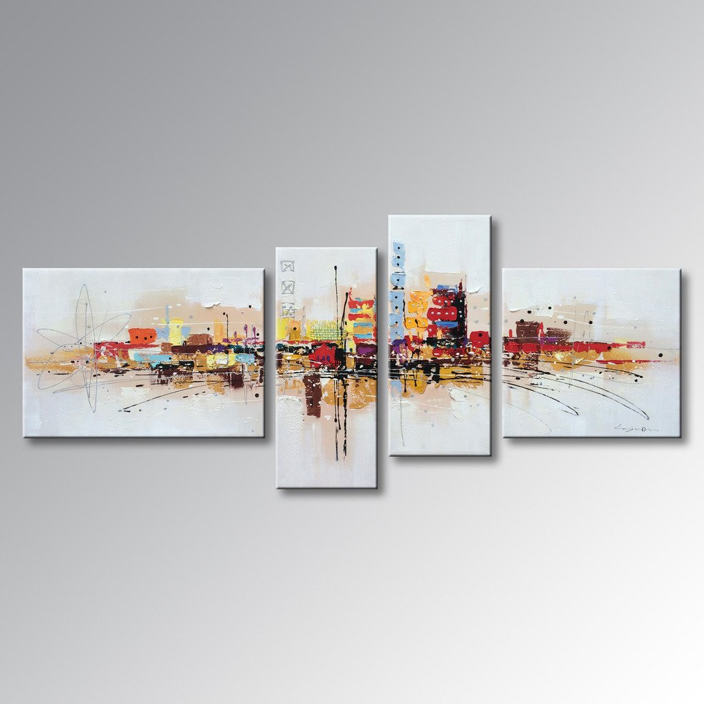 Winpeak Art Framed Handmade Abstract Huge Oil Painting Canvas Wall Art Hanging Modern Contemporary Cityscape Large Artwork Home Decoration Stretched Ready To Hang 84''W x 40''H by Winpeak Art