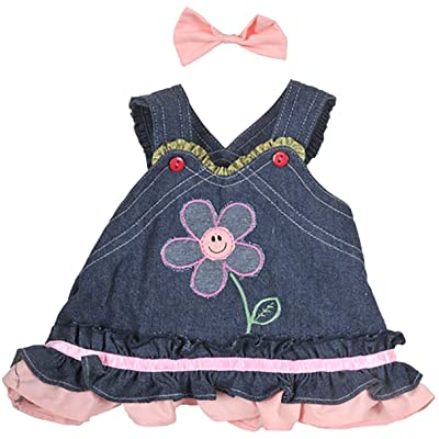 "Summer Denim Dress w/Bow Teddy Bear Clothes Outfit Fits Most 14"" - 18"" Build-a-bear and Make Your Own Stuffed Animals : Toys & Games"