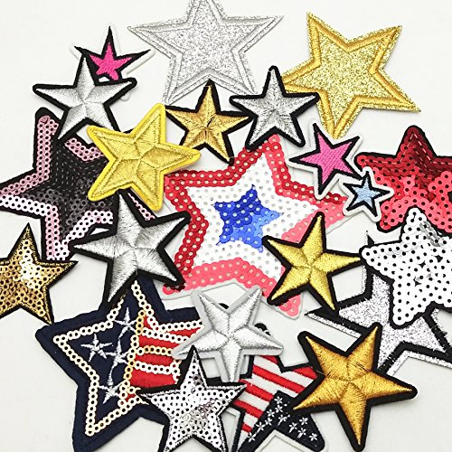 Dandan DIY 20pcs Random Assorted Stars Kid Embroidered Patch Sew On/Iron On Patch Applique Clothes Dress Plant Hat Jeans Sewing Flowers Applique Diy Accessory (Assorted-Stars) (Applique Star)