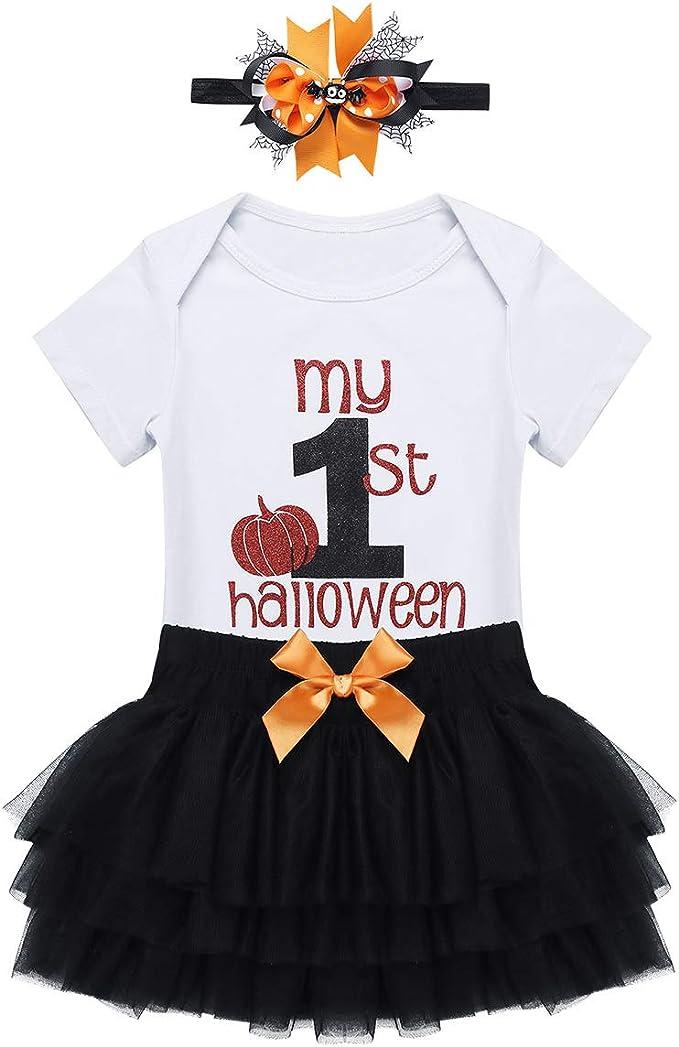 YOOJIA Bebé Niñas Traje de Fiesta Halloween 3Pcs Mono Corto ...
