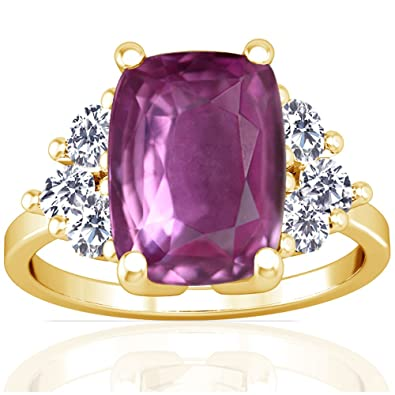 Amazon Com 14k Yellow Gold Cushion Cut Pink Sapphire Ring With