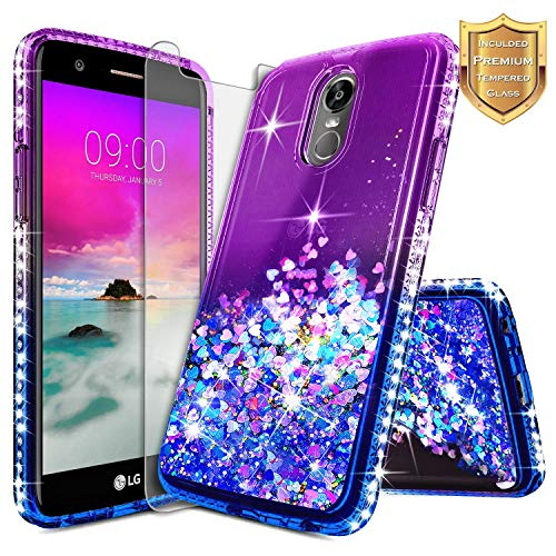 LG Stylo 3 Case, LG Stylo 3 Plus Case w/[Tempered Glass Screen Protector], NageBee Glitter Liquid Quicksand Waterfall Floating Flowing Sparkle Shiny Bling Diamond Clear Girls Cute Case -Purple/Blue