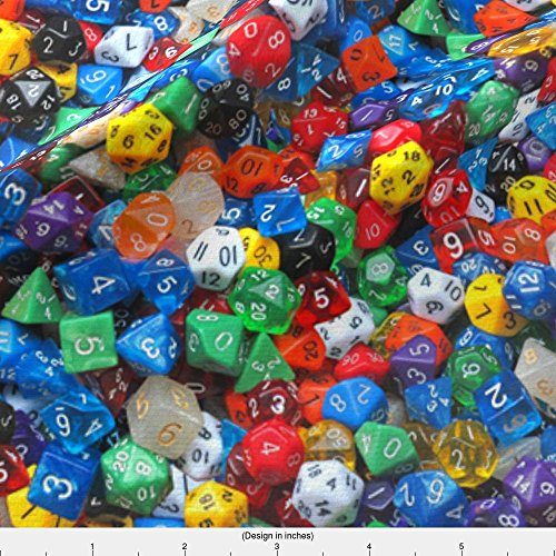 Spoonflower Polyhedron Fabric A Sea Of Dice by Weavingmajor Printed on Basic Cotton Ultra Fabric by the (Dice Fabric)
