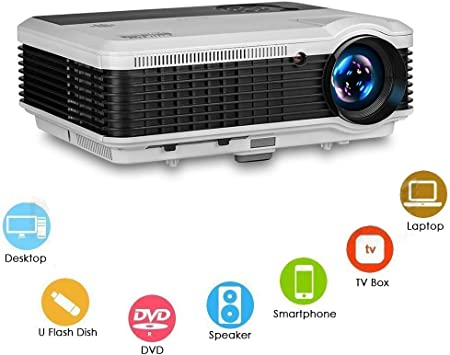 EUG 3900 Lumen WXGA LCD LED Digatal TV Projectors Home Theater with HDMI USB RCA Audio Ypbpr VGA Support Full HD 1080P Multimedia Outdoor Movie ...