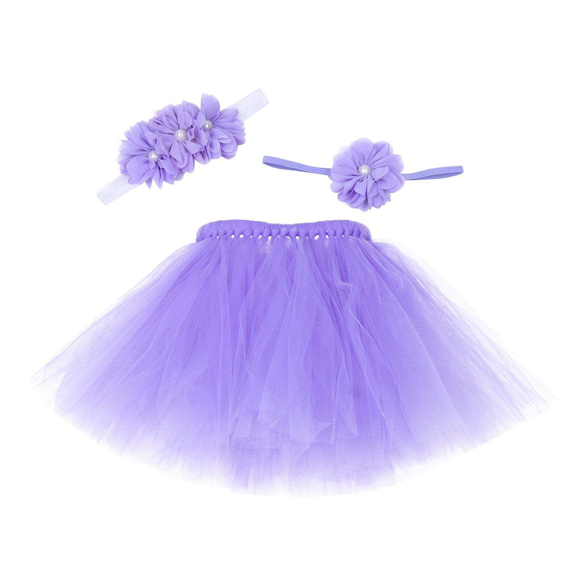 iiniim Bébé Déguisement Costume Prop Photographie Outfits Ensembles Tutu Jupe et Bandeau Cheveux Fleur Nouveau-né 0-12 mois