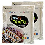 100 Sheets( 50 Sheets x 2 ), Korean Roasted Seaweed Premium Yaki Sushi Nori Gimbap Roll, Vacuum Packed, Full Size