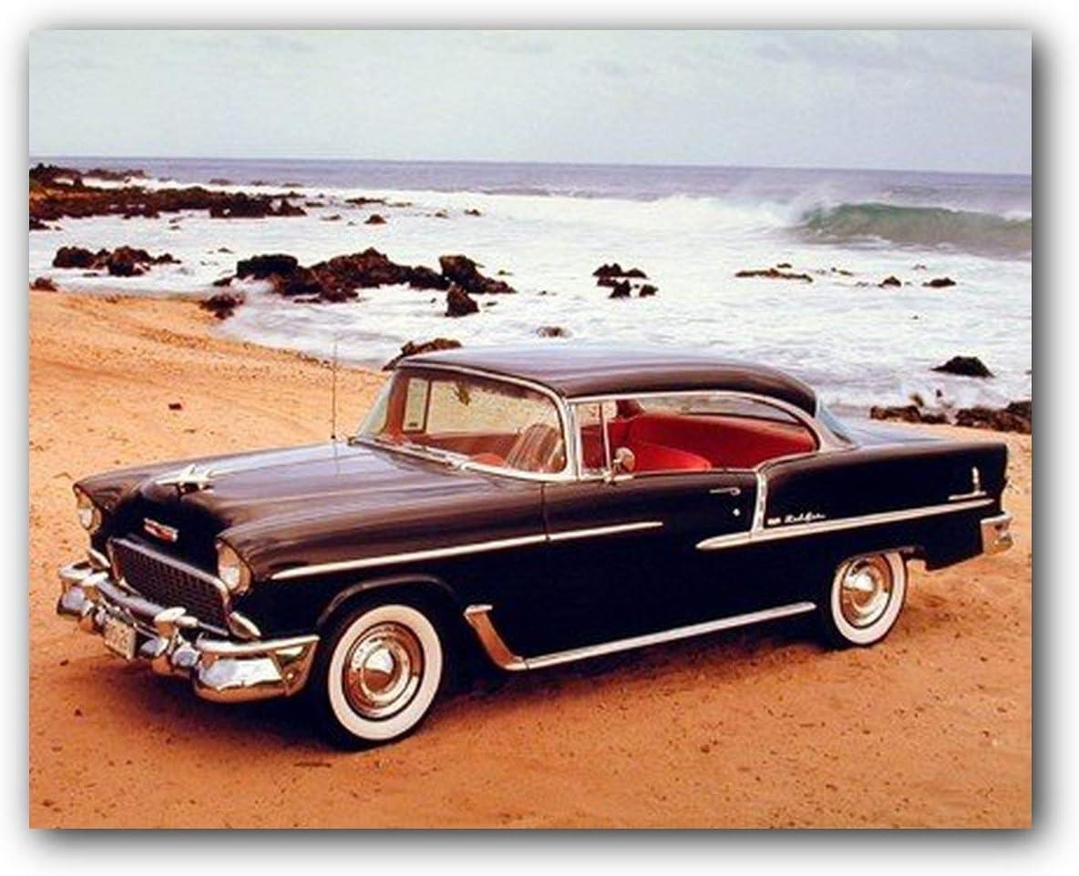 1955 Black Chevy Bel Air Brad Wagner Vintage Car Wall Decor Art Print  Poster (16x20)