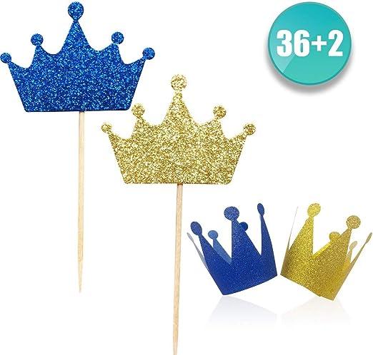 Amazon.com: Paquete de 36 pinchos y corona azul para ...
