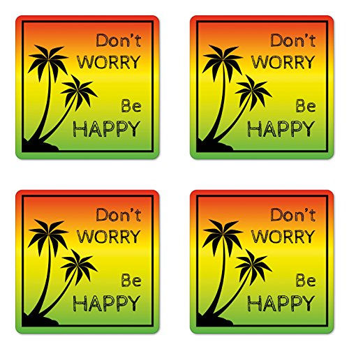 Ambesonne Rasta Coaster Set of 4, Dont Worry Be Happy Music Words of Iconic Singer Palms Ombre Colors, Square Hardboard Gloss Coasters for Drinks, Standard Size, Lime Green