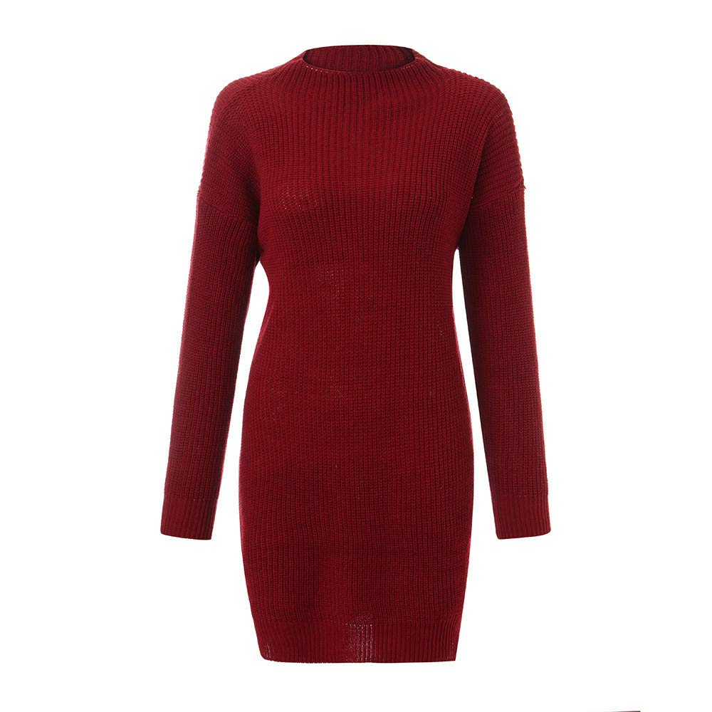 HEFEITONG Women's Knitted Round Neck Long Sleeve Loose Sweater Pullover Mini Dress KIEKKKO133 18.2