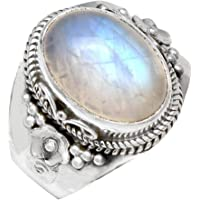 YoTreasure Rainbow Moonstone 925 Sterling Silver Rings Silver Jewelry (Size-5-10)