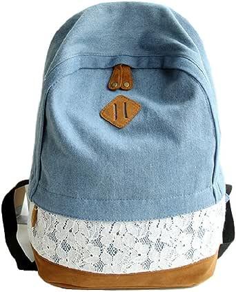 Egmy 2016 Fashion Lace Denim Women Canvas Backpack Schoolbag
