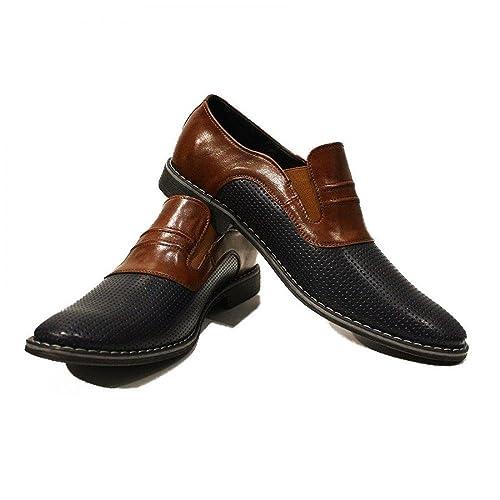 Modello Ivo - Cuero Italiano Hecho A Mano Hombre Piel Marrón Mocasines y Slip-Ons Loafers - Cuero Cuero Repujado - Ponerse: Amazon.es: Zapatos y ...