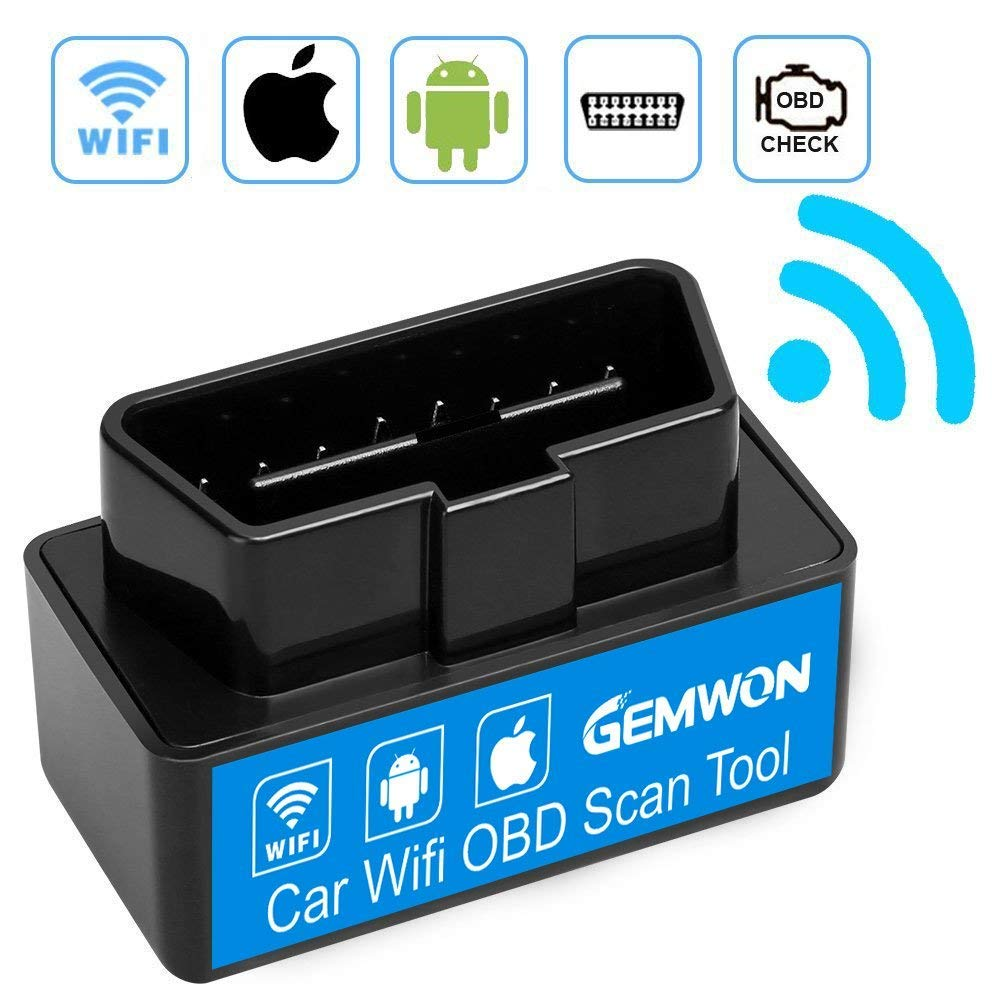 Gemwon Car WiFi OBD 2, Mini OBD2 Scan Tool, Mini Car OBD2 OBDII Scan Tool Auto Diagnostic Scanner Code Reader/Scan Tool Check Engine Light for iOS & Android (Black)