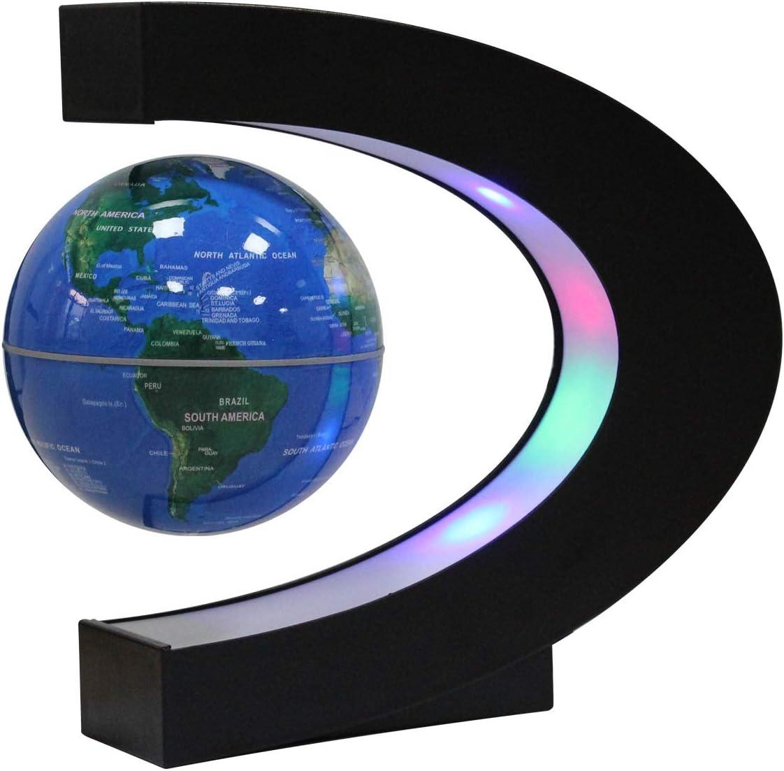 Globo Flotante de Levitación Magnética con Forma de C - Rotación del Mapa del Mundo con Luces LED para la Educación Enseñanza Inicio Oficina de Decoración de Escritorio Regalo de Cumpleaños
