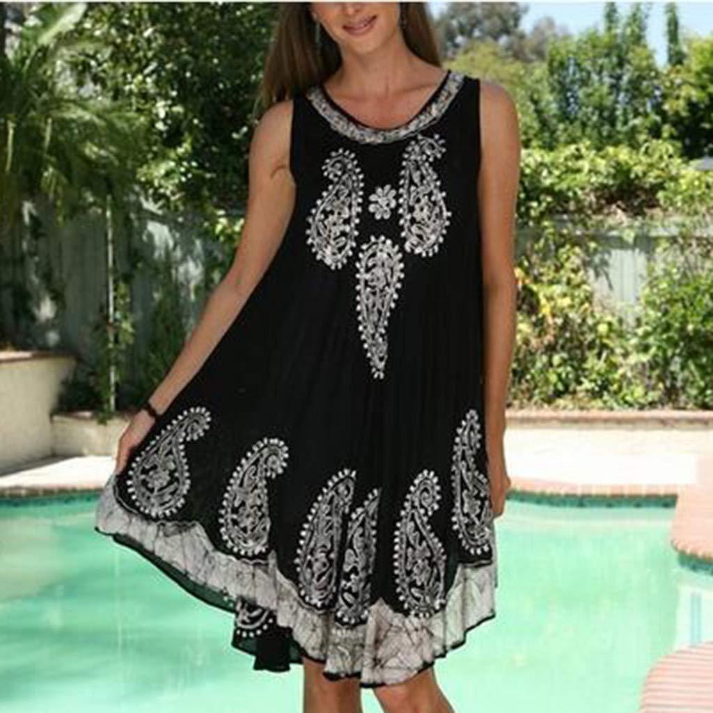 yoyorule Casual Summer Dress Womens Fashion Sleeveless Off-Shoulder Print Tank Dress Evening Party Dress