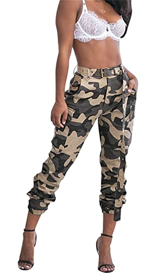 4e0fead1e0354 Symina Women's Casual Camo High Waisted Skinny Long Pants Stretch Slim Fit  Leggings Belt Plus Size