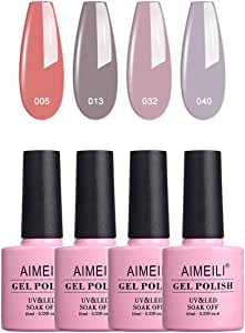 Aimeili Soak Off Uv Led Gel Nail Polish Multicolor/Mix Color/Combo Color Set Of 4Pcs X 10Ml - Kit Set 18