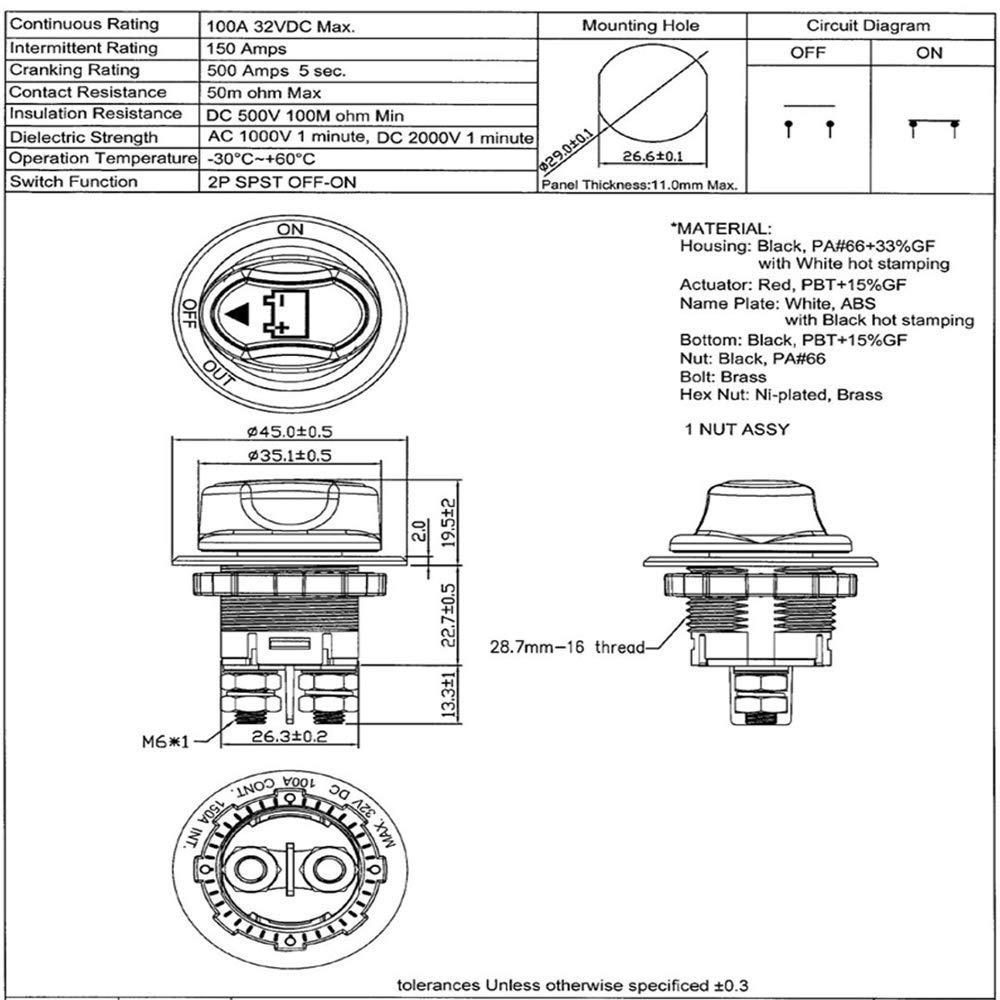 48 V interruptor de desconexi/ón de bater/ía interruptor de corte maestro//apagado interruptor Max 32 V 100 A CONT 150 A INT ON//OFF para barco marino RV ATV veh/ículos Apagador de bater/ía de coche 12 V
