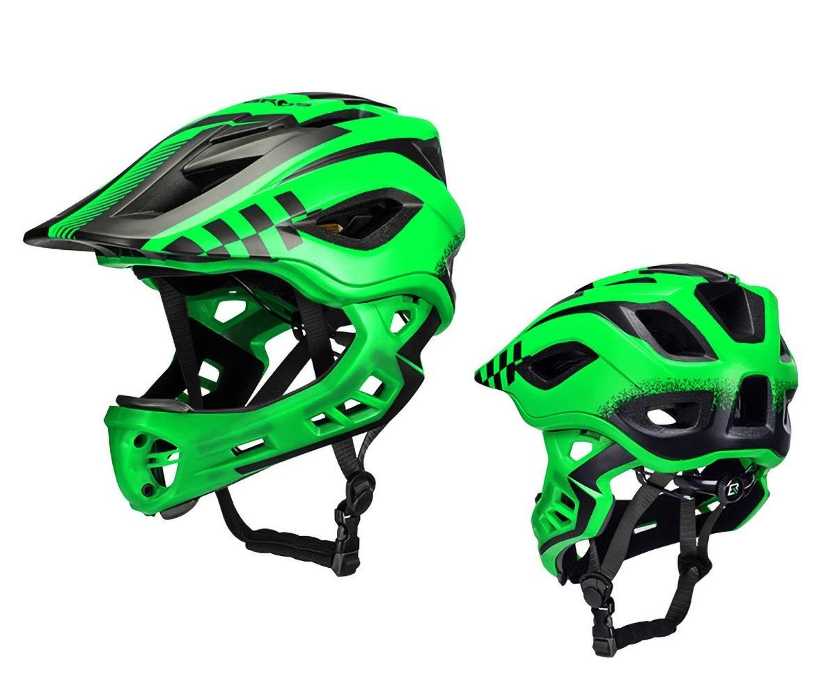 KTH Adjustable Kids/Adult Bike & Skateboard Helmet and Multi-Sport for Cyling, Scooter, Roller Skate, Inline Skating (Color : Green, Size : 50-54cm)