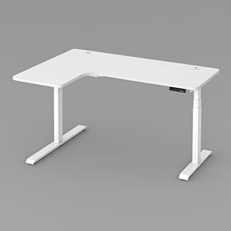 check out 2c0d8 3590f EUREKA ERGONOMIC L-Shape Corner Computer Office Desk Electric Adjustable  Height Standing Desk PC Laptop Table Workstation Home Office 5 Years  Limited ...