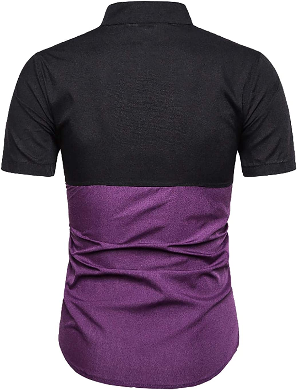 milene88 Men Casual Patchwork Short Sleeve Slim Button Shirt Summer Top Casual Button-Down Shirts